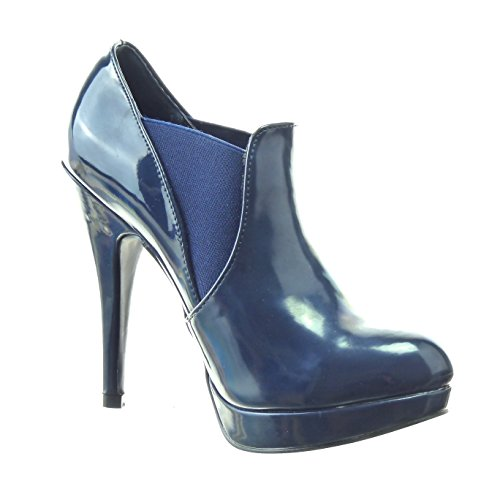 Sopily - Scarpe da Moda Stivaletti - Scarponcini chelsea boots zeppe alla caviglia donna lucide verniciato Tacco Stiletto tacco alto 12 CM - Blu