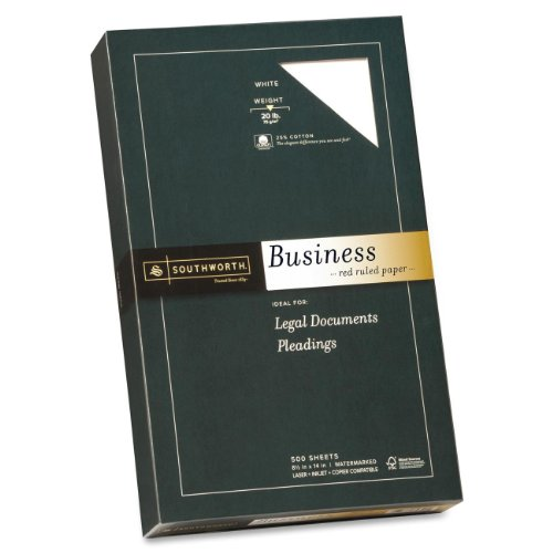 Southworth Business Paper,20 lb,Red Ruled,8-1/2