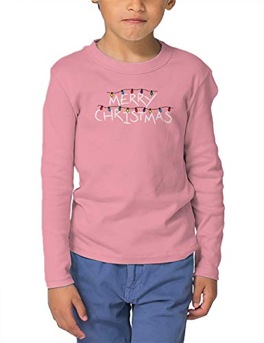 HAASE UNLIMITED Merry Christmas Lights - Parody Things Long Sleeve Toddler Cotton Jersey Shirt (Light Pink, 4T)
