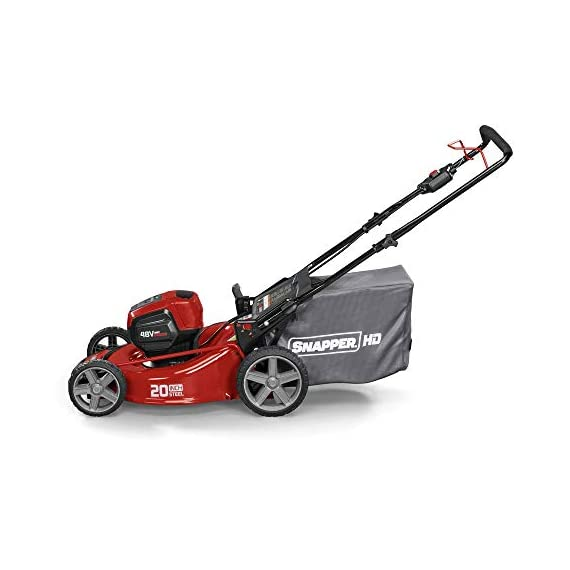 Snapper HD 48V MAX Cordless Electric 20-Inch Lawn Mower Kit with (1) 5.0 Battery and (1) Rapid Charger 8 Up to 90 minutes of run time with 5. 0 Battery under light loads** 3-in-1 mulch/bag/side-discharge options on 20-inch steel deck Intelligent load sensing technology - allows for optimum power levels while you mow for maximum efficiency
