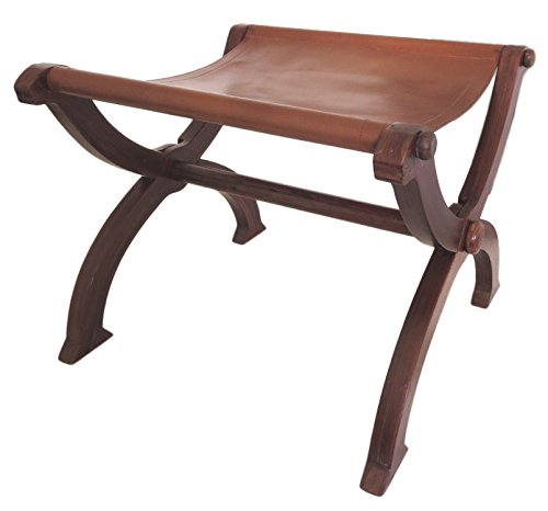 Deepeeka F0011 Folding Stool With Leather Seat by Deepeeka