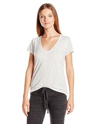 Alternative Women's Melange Burnout Jersey Slinky V-Neck Shirt, Oatmeal Heather, Medium
