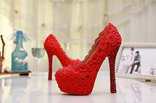 Pumps on Wedding Red Handmade 14cm Heel Slip Prom Minitoo Satin Shoes Evening MZLL024 Party Women's 7wqYxRIntv