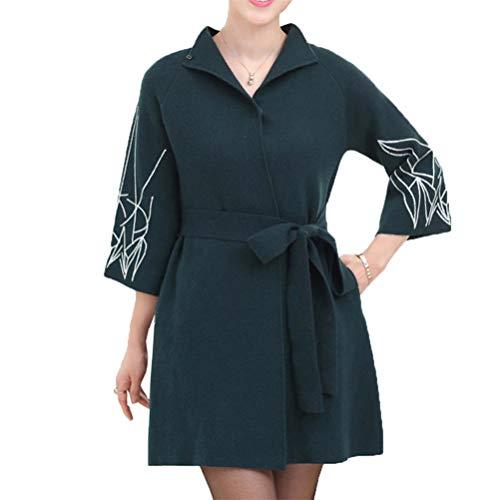 [美しいです]春秋冬 レディース ロング カーディガン 中年 女性 コート オーバー お母さん セーター ガウン ファッション 気質 欧米風 おしゃれ 防風 ジャケット カジュアル シンプル 無地 暖かい ロングコート
