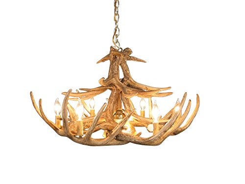 Rustic Whitetail Deer 12 Antler Chandelier with 6 lights and 1 Down light by Muskoka Lifestyle Products