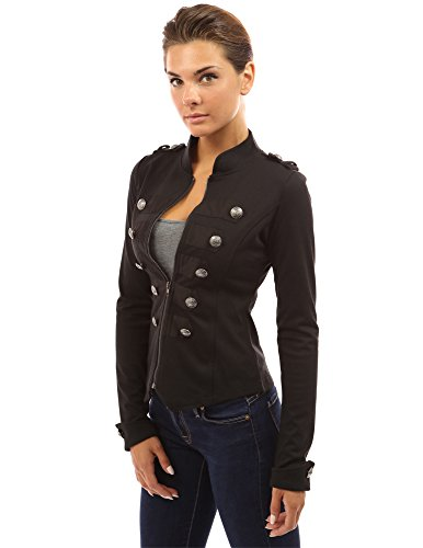 PattyBoutik Women's Zip Front Stand Collar Military Light Jacket