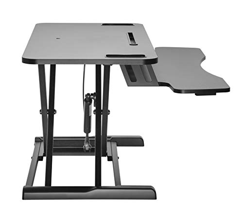 """Duramex (TM) Height Adjustable Standing Desk Sit to Stand Gas Spring Riser Converter   37"""" Tabletop Workstation fits Dual Monitor"""