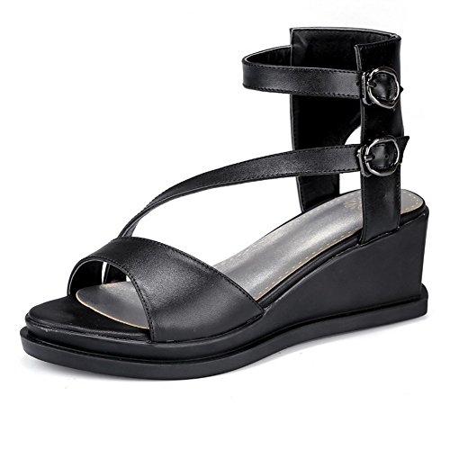 Aalardom Femmes Kitten-heels Cuir De Vache Boucle Ouverte Sandales Noir
