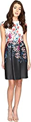 Adrianna Papell Women's Printed Scuba Fit and Flare Black Multi Dress