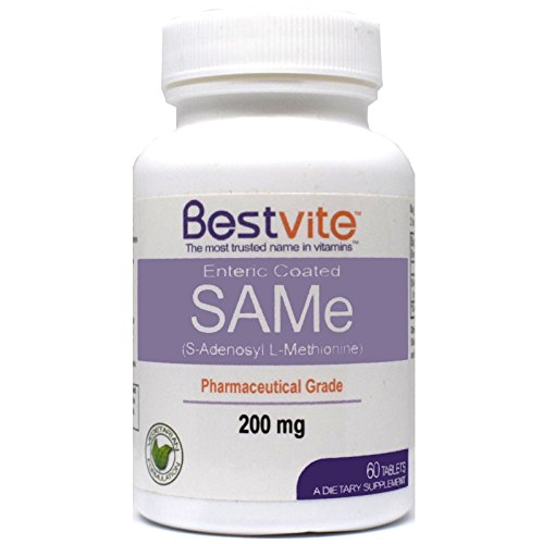 SAMe 200mg (60 Tablets) Premium Ingredient from Italy containing more than 75% (SS) SAM-e, the highest active level available