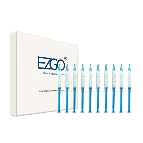 EZGO Teeth Whitening Gel 22% Carbamide Peroxide Refills Pack, No Sensitive, Great for Sensitive Teeth Bleaching, Works with Teeth Whitening UV LED light and Trays (10X 3ML)