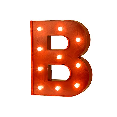 Glitzhome Vintage Marquee LED Lighted Letter B Sign Battery Operated Red ()