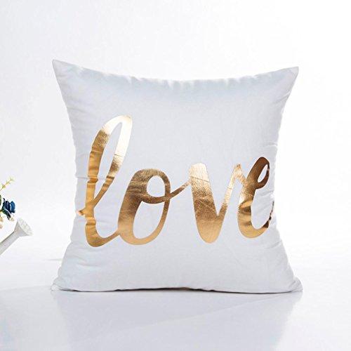 Glorrt Gold Foil Printing Pillow Case Sofa Waist Throw Cushion Cover Home Decor (G)