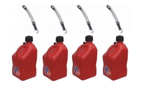 4 Pack VP 5 Gallon Square Red Racing Utility Jugs with 4 Deluxe Filler Hoses (Fuel Racing)