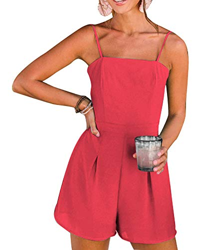 Women's Cute Spaghetti Strap Knot Solid Color Backless Beach Romper Playsuit Short Jumpsuit Red L