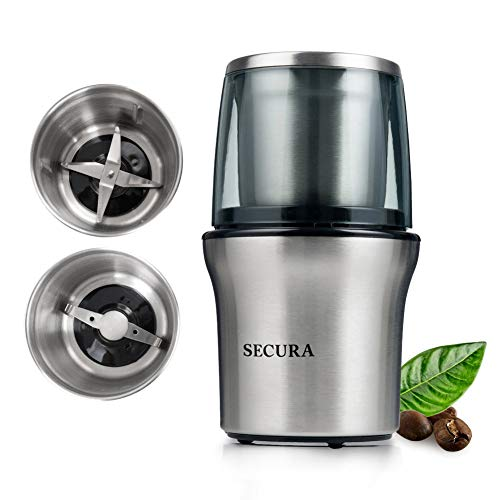 (Secura Electric Coffee Grinder & Spice Grinder with 2 Stainless-Steel Blades Removable Bowl (2-Year Warranty))