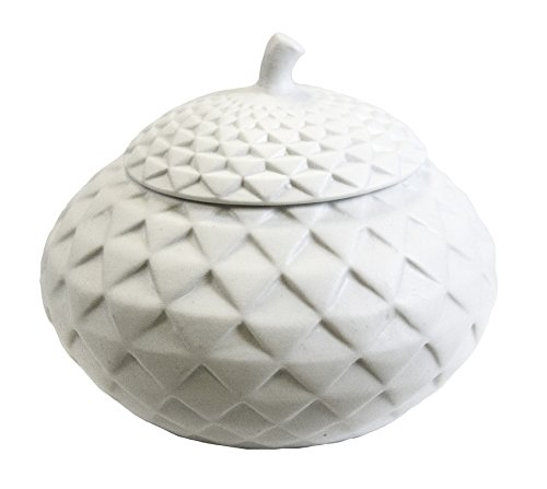 Sagebrook Home AC10296-01 Quilt Look Lidded Jar, White Ceramic, 6.25 x 6.25 x 5.75 Inches