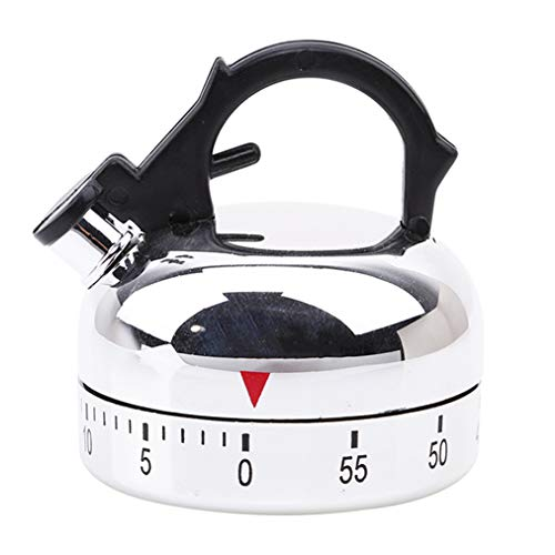 Sevenfly Small Kettle Mechanical Timer, 60 Minute Kitchen Timer Alarm Mechanical Teapot Shaped Timer Clock Counting Thermometers Timers