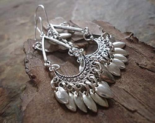 ✿ Lange Tribal Boho Ohrringe mit grossen Haken ✿