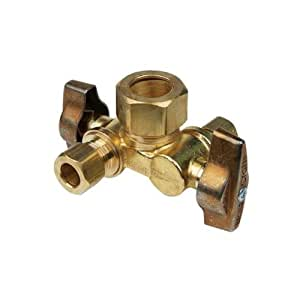 BrassCraft KTCR1900DV R 1/4 Turn Ball Dual Outlet Dual Shut-Off Stop, 1/2-Inch Nom. Compr. by 3/8-Inch O.D. Compr. By 1/4-Inch O.D. Compr., Rough