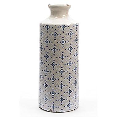 11.5  French Countryside White, Blue and Purple Diamond Burst Ceramic Earthenware Bottle Vase