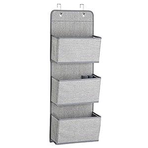 InterDesign Aldo Over the Door Fabric Closet Storage Organizer for Purses, Handbags, Shoes, Sunglasses - 3 Pockets, Gray