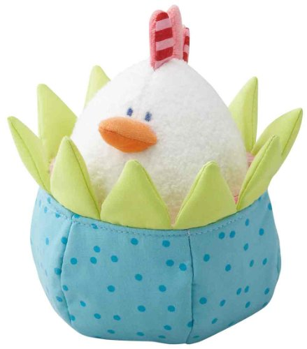 HABA Cozy Chick Hatching - 2 Piece Machine Washable Plush Set with Soft Tweeting Chick and Crinkling Egg