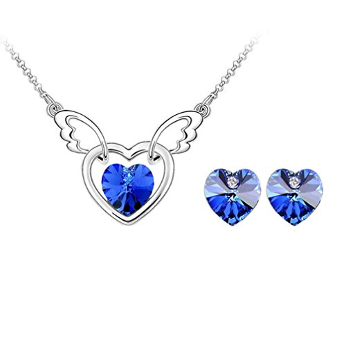 Gift for Girls Angle Wing with Heart Swarovski Elements Crystal Pendant Necklace Stud Earrings Set Fashion Jewelry for Women (Blue) (Crystal Heart Ring Necklace With Swarovski Elements)