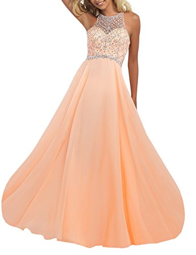 Firose Women's Scoop Neckline Beaded Long Chiffon Prom Dresses for 2018 4 Peach
