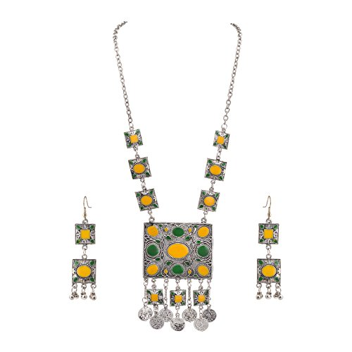 (Zephyrr Fashion Oxidized Silver Afghani Style Pendant Necklace Earrings Set for Girls and Women)