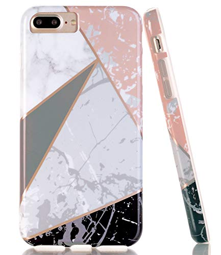 BAISRKE iPhone 7 Plus Case, iPhone 8 Plus Shiny Rose Gold Lines Clear Bumper TPU Soft Rubber Silicone Protective Phone Case for Apple iPhone 7 Plus/8 Plus/6 Plus/6S Plus [Black Marble Geometric]