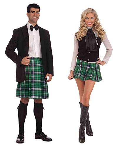 Mens Kilt Womens Mini Kilt Couples Kilt Set St Patrick's Day Costume Accessories ()