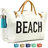 KEHO Large Canvas Beach Bag Travel Tote (White), Waterproof Lining, 3 Pockets, FREE Phone Protector