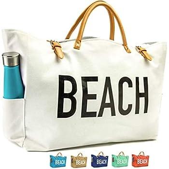 KEHO Large Canvas Beach Bag Travel Tote (White) 645658e1cc42b
