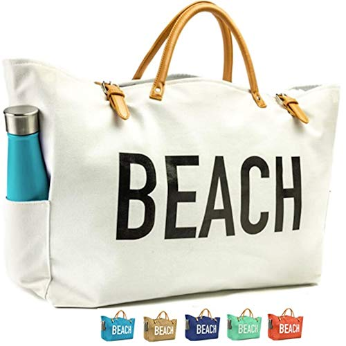 81979b44ac KEHO Large Canvas Beach Bag Travel Tote (White)