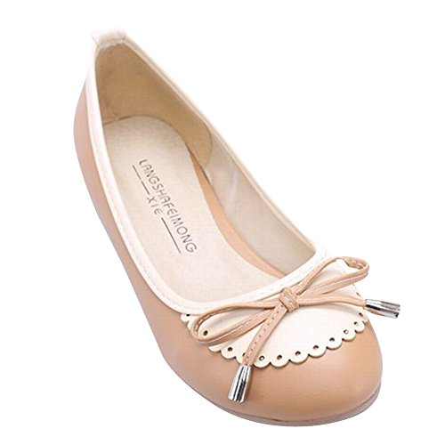 Carolbar Women's Cute Sweet Flat Bows Lace Assorted Colors Loafer Shoes Light Brown RPvuVaeU5