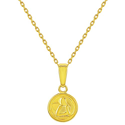 (925 Sterling Silver Gold Flashed Guardian Angel Catholic Medal Necklace Baby 16