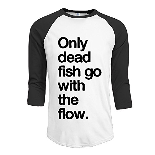 Dispear Men's Only Dead Fish Go With The Flow 3/4 Sleeve Raglan Graphic T Shirts