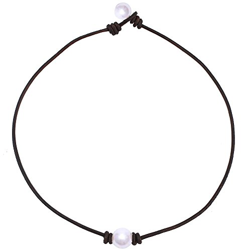 Charming Collection Single Cultured Freshwater Pearl Leather Choker Necklace on Genuine Black Leather Cord for Women Gift Handmade 15