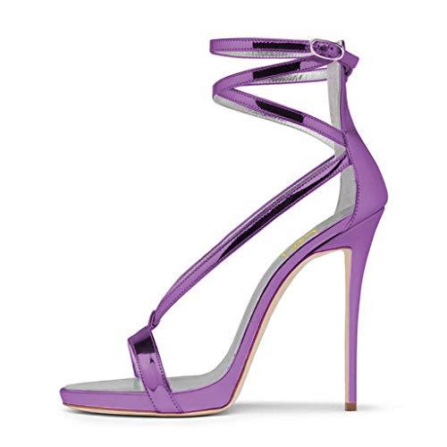 Purple Wedding High US 15 Toe Heels Sandals 4 Sexy Strappy Size Shoes Metallic Pumps Open FSJ for Women qAwxXT