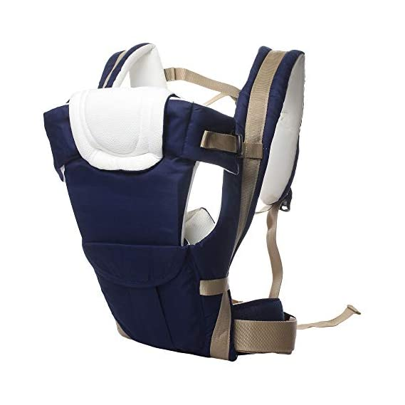 Eranqo 4-in-1 Adjustable Baby Front and Back Carrier Sling Bag with Safety Belt and Comfortable Head Support (Blue)