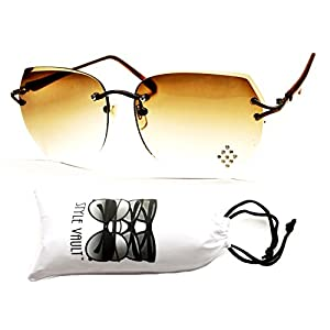 E3024-vp Style Vault Rimless Colorful Lens Oversized Sunglasses (B1349F Bronze-brown)