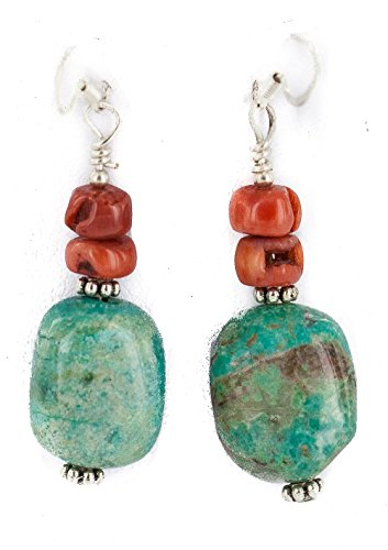 $80Tag Silver Hooks Certified Navajo Turquoise Coral Native Dangle Earrings 18294-18 Made By Loma Siiva