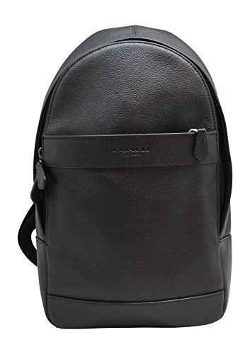 Price comparison product image Coach Mens Leather Shoulder Crossbody Bag Charles Pack Backpack Black F54770