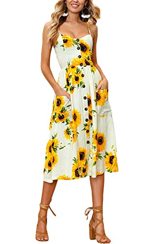 Women's Casual Boho Floral Spaghetti Strap Button Down Belt Swing A line Midi Dress with Pockets(Yellow, XL)