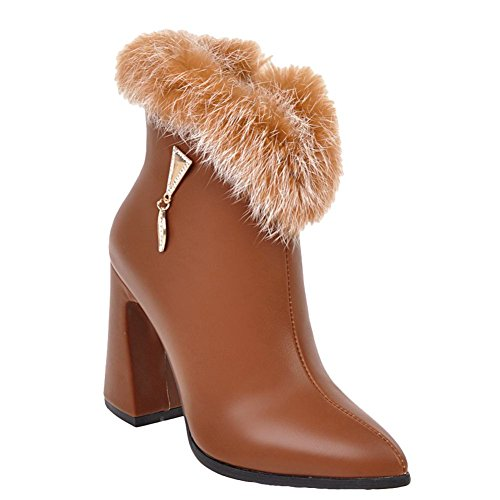 Mee Shoes Women's Chic Zip Pointed Toe Faux Fur Short Boots Yellow