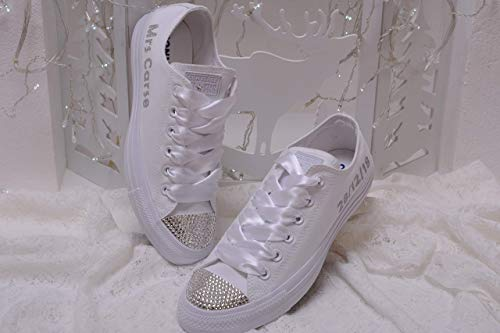 Bling White Monogrammed Wedding Sneakers For Bride, Personalized Bridal Trainers, Awesome Bride Tennis Shoes -