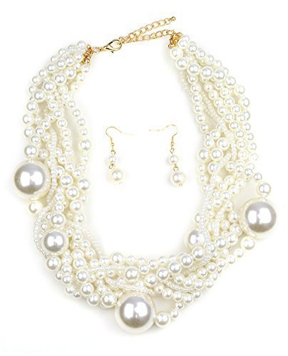 Simulated Pearl Fashion Necklace and Earring Set - Cream, Entwined Various Size