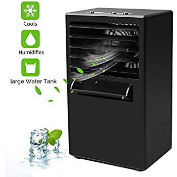 Upgrade Version Burlywood Mini Air Conditioner Portable Air Cooler,Cold Air Fan| Misting Bladeless Quiet Cooling Desk Fan Vshow Personal Air Cooler