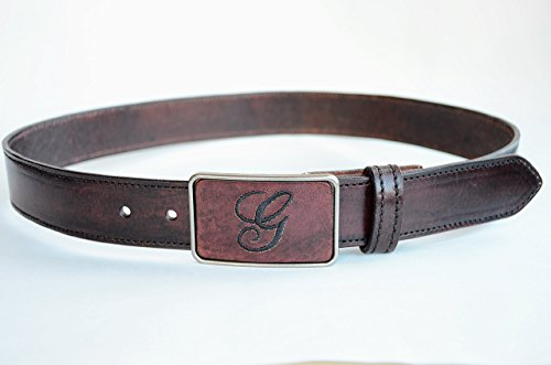 Mahogany Mens Leather Belt Personalized with Embroidered Monogram on Buckle by UrbanKrafts